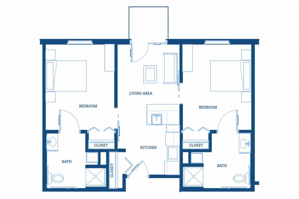Independent living floor plan with two bedrooms and two baths